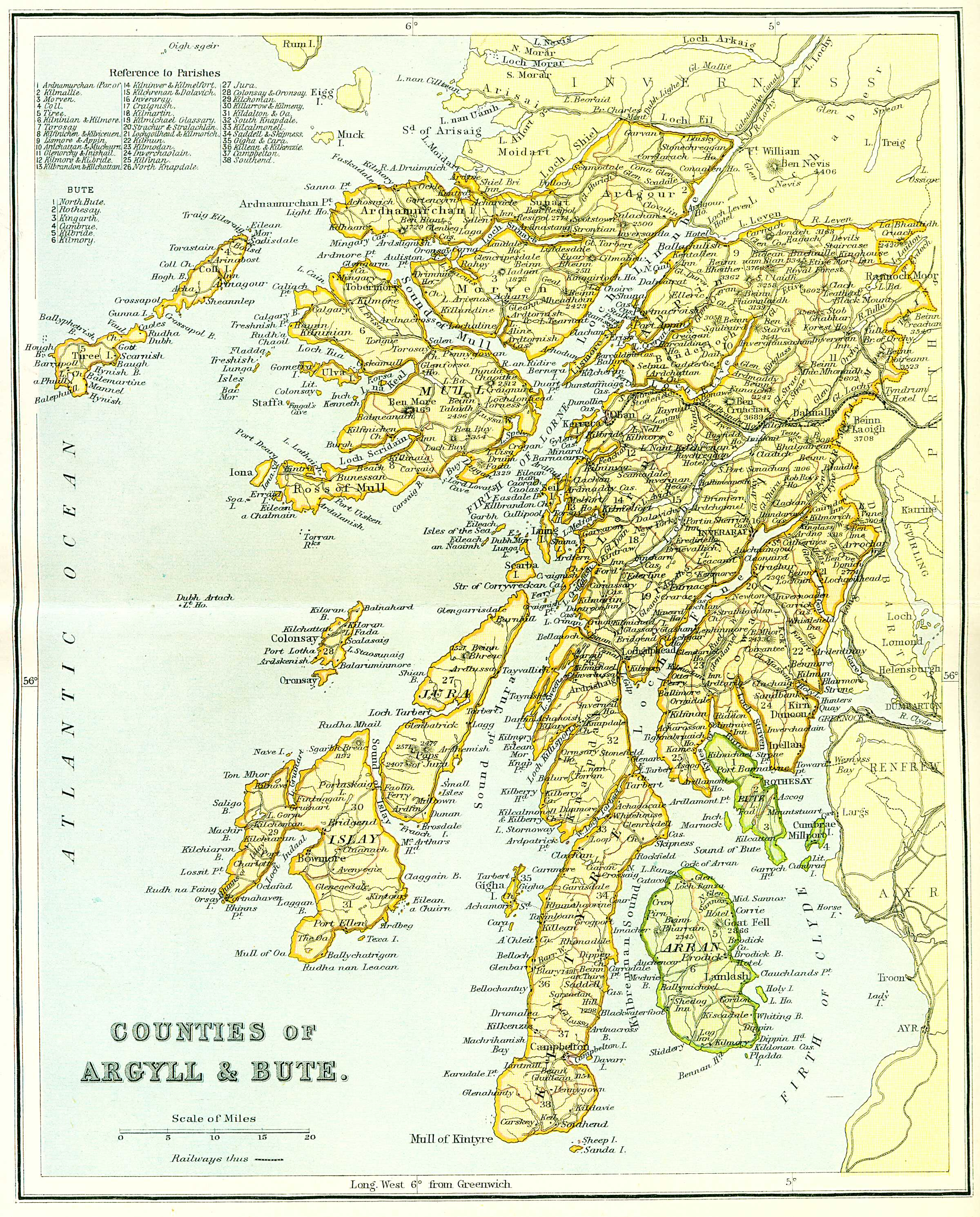 Map Of Argyll And Bute Ordnance Gazetteer of Scotland   Counties of Argyll & Bute Map