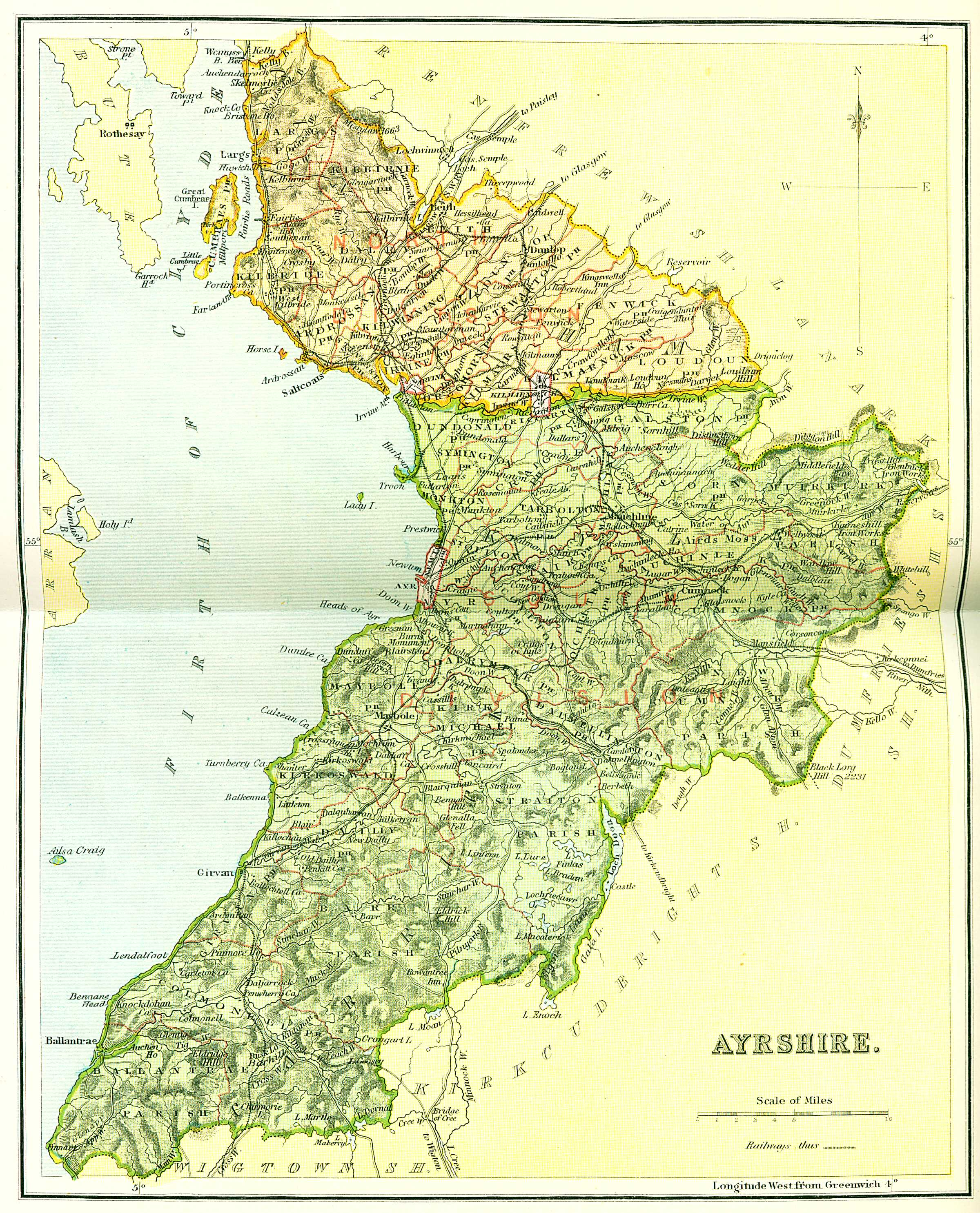 Map Of Ayrshire Ordnance Gazetteer of Scotland   Ayrshire Map