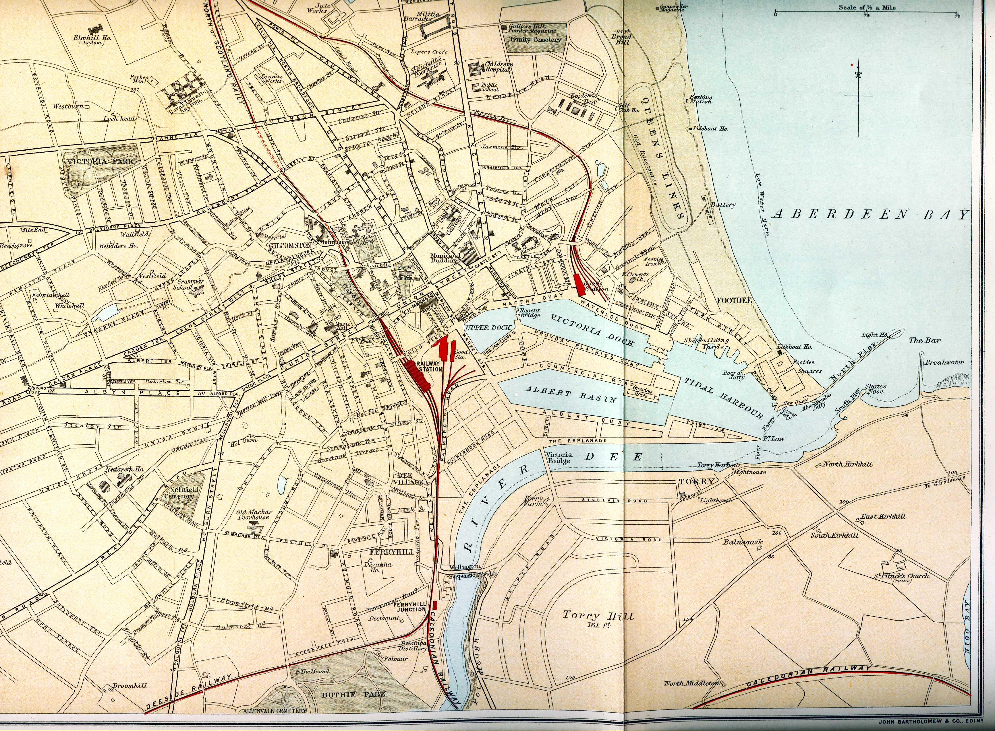 Ordnance Gazetteer of Scotland - Plan of Aberdeen Map