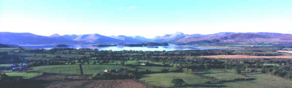 Loch Lomond, late summer, looking north. The east bank lands of Clan Buchanan. The west bank lands of Clan Colquhoun & further north lands of